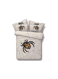 3D Spider Web Printed 4-Piece Bedding Sets/Duvet Covers