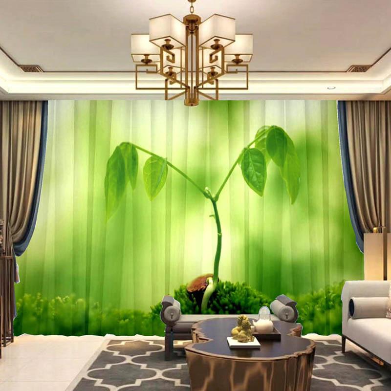 3D Digital Print Chiffon Sheer Curtains 50%Shading Rate No Pilling No Fading No off-lining