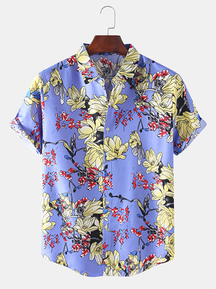 Men Chinese Style Floral Printed Leisure Holiday Lightweight Breathable Lapel Shirt
