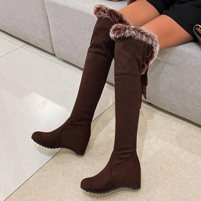 Ericdress Hidden Elevator Heel Round Toe Slip-On Short Floss Boots