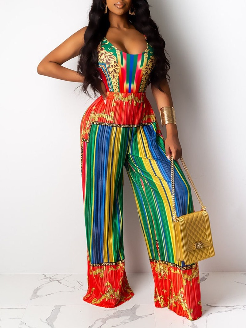 Ericdress Color Block Full Length Vintage Loose Straight Jumpsuit