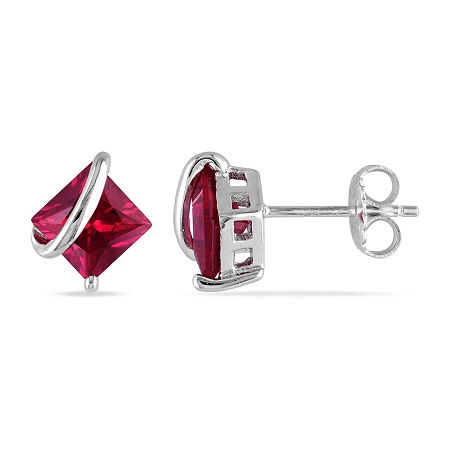 Lab Created Red Ruby Sterling Silver Ear Pins, One Size , No Color Family