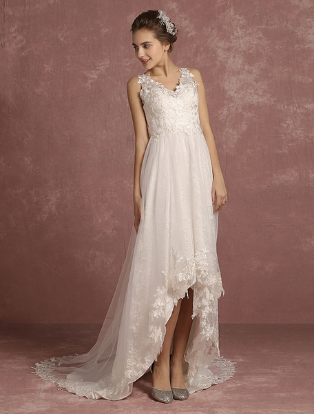 Milanoo Summer Wedding Dresses 2020 Lace High Low V Neck Bridal Gown Illusion Sleeveless A Line Bridal Dress With Chapel Train