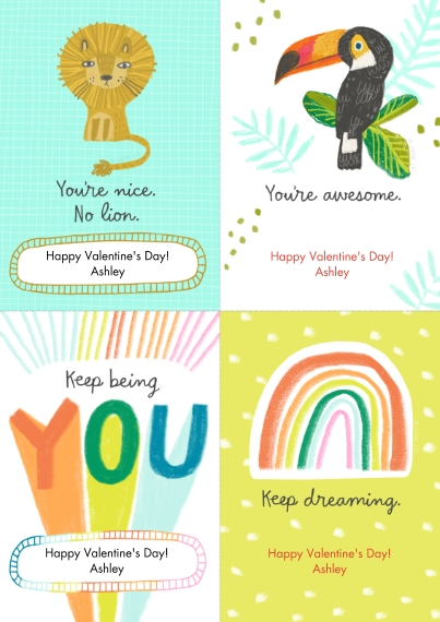 Valentine's Cards 5x7 Cards, Premium Cardstock 120lb with Rounded Corners, Card & Stationery -Whimsical Designs Cut-Apart by Hallmark