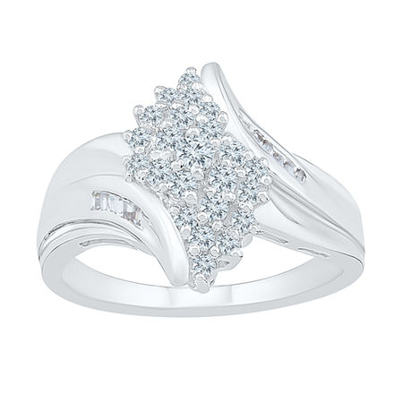 Womens 1/2 CT. T.W. Genuine White Diamond 10K White Gold Cluster Cocktail Ring, 4 , No Color Family