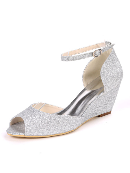 Milanoo Glitter Wedding Shoes White Sequins Peep Toe Wedge Heel Bridal Shoes