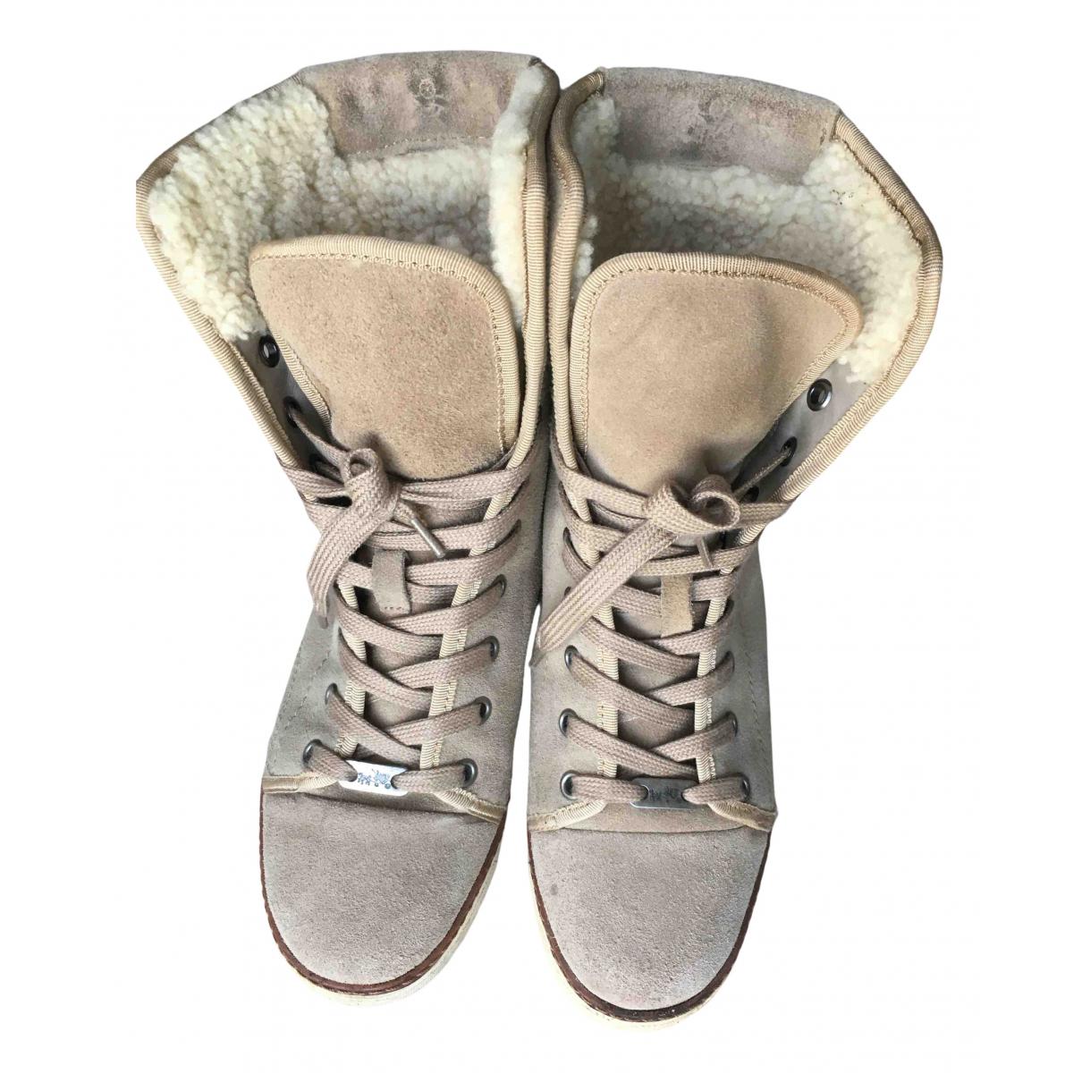 Coach N Beige Shearling Ankle boots for Women 36 EU