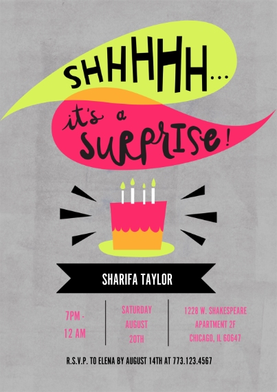 Birthday Party Invites 5x7 Cards, Standard Cardstock 85lb, Card & Stationery -Surprise Birthday