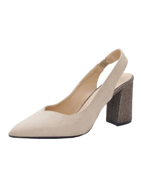 Milanoo High Heels Sandals Slip-On Pointed Toe Artwork Chunky Heel Rhinestones Chic Black Sandals