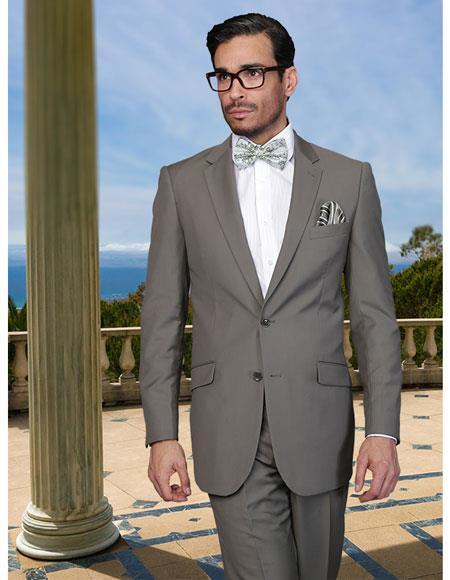 Mens Green Business Suit 2 Buttons Regular Fit Side Vented Notch Lapel