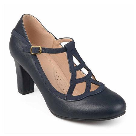 Journee Collection Womens Nile Pumps Block Heel, 9 Medium, Blue
