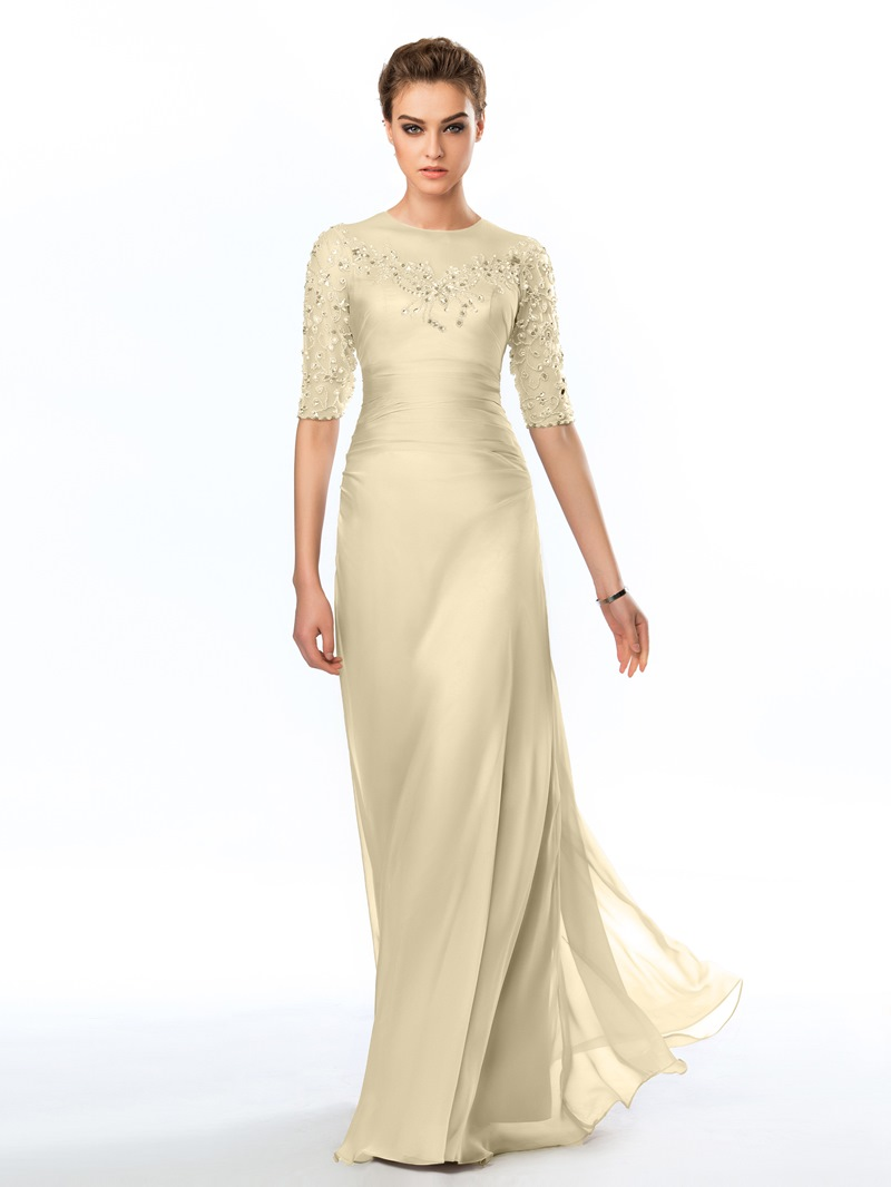 Ericdress Half Sleeves Beading Sheath Evening Dress