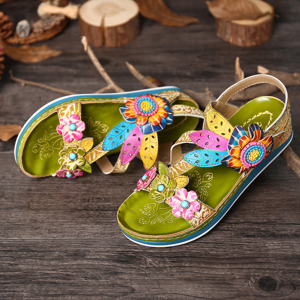 SOCOFY Super Comfy Genuine Leather Flowers Pattern Splicing Stitching Floral Hook Loop Sandals