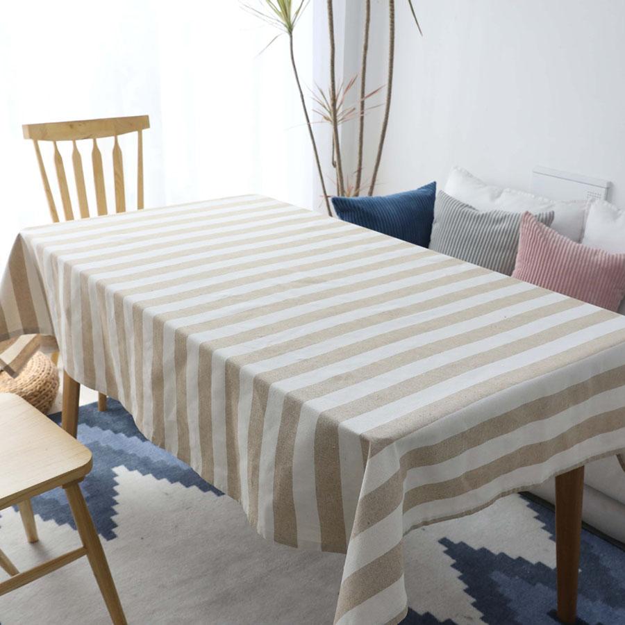 European Style Cotton Stripe Pattern Rectangle Table Cloth