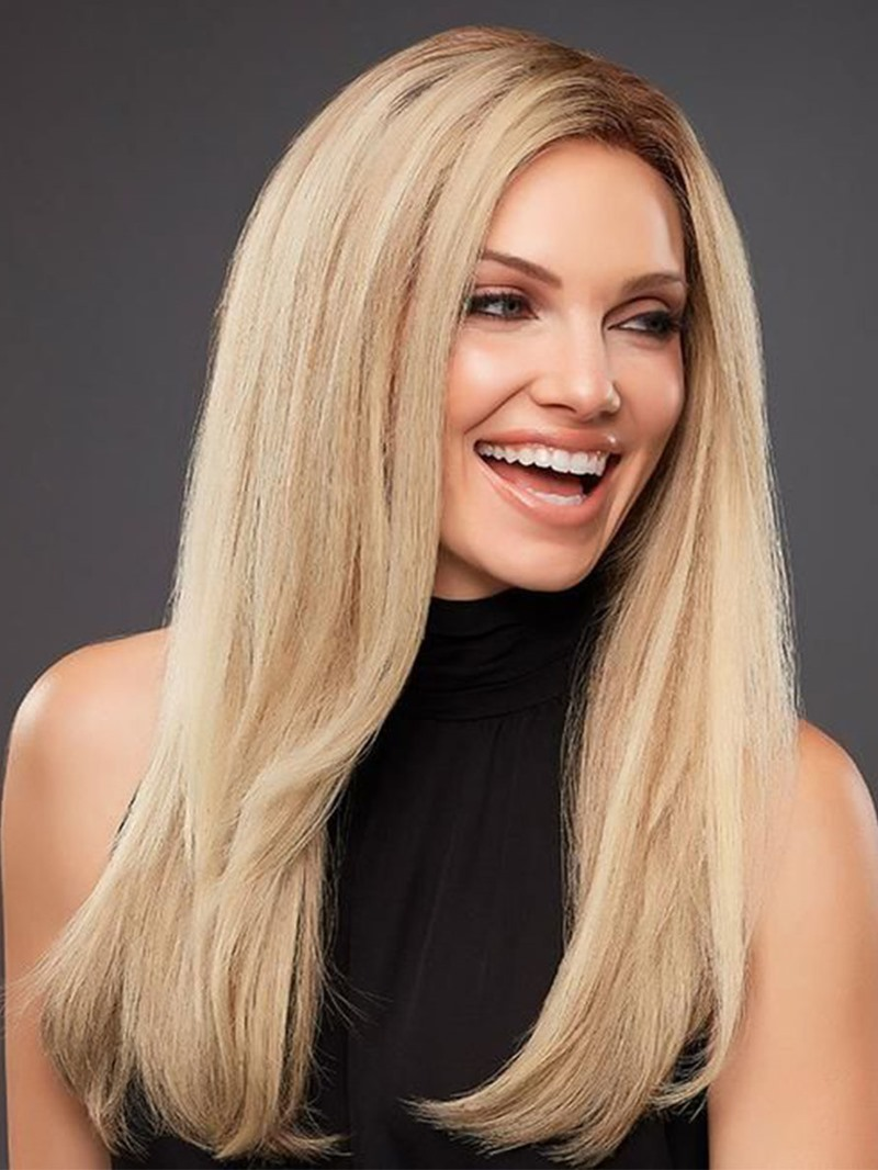 Ericdress Natural Looking Women's Side Part Straight Human Hair Wigs Long Length Lace Front Wigs 24Inch