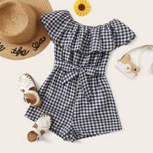 Girls Ruffle Trim Self Belted Gingham Romper