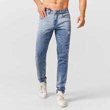 Men Ripped Washed Button Fly Jeans