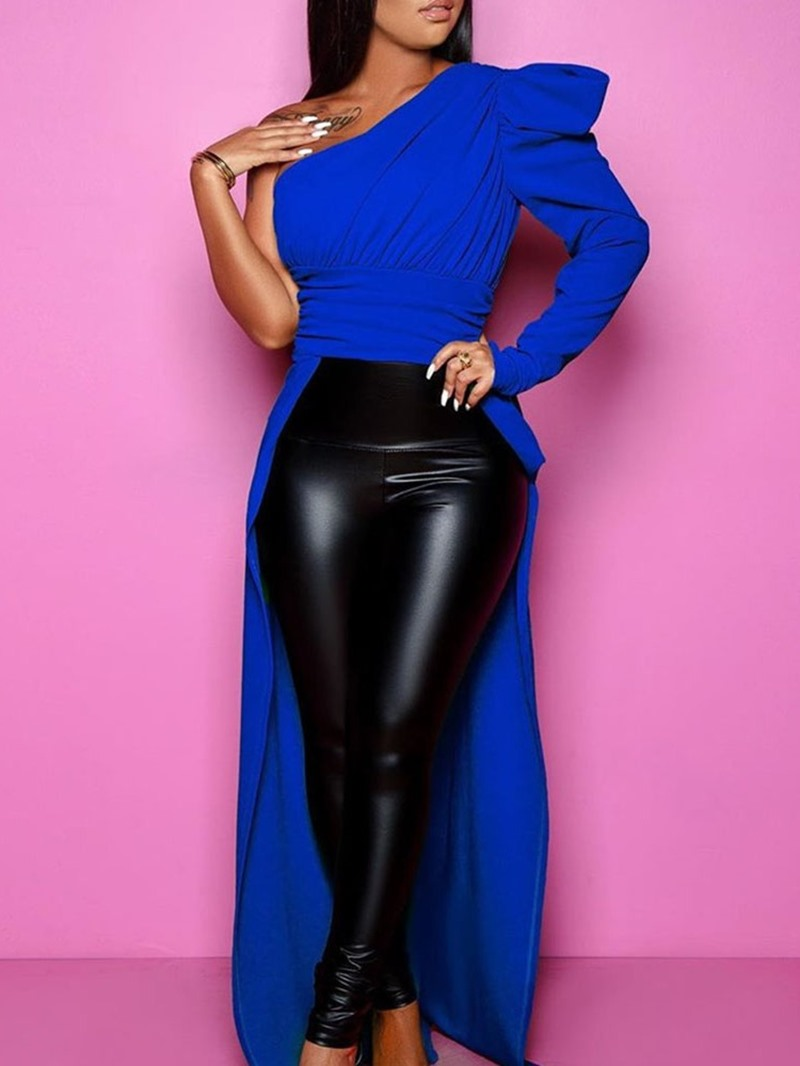 Ericdress Oblique Collar Asymmetric Plain Long Sleeve Women's Long Blouse