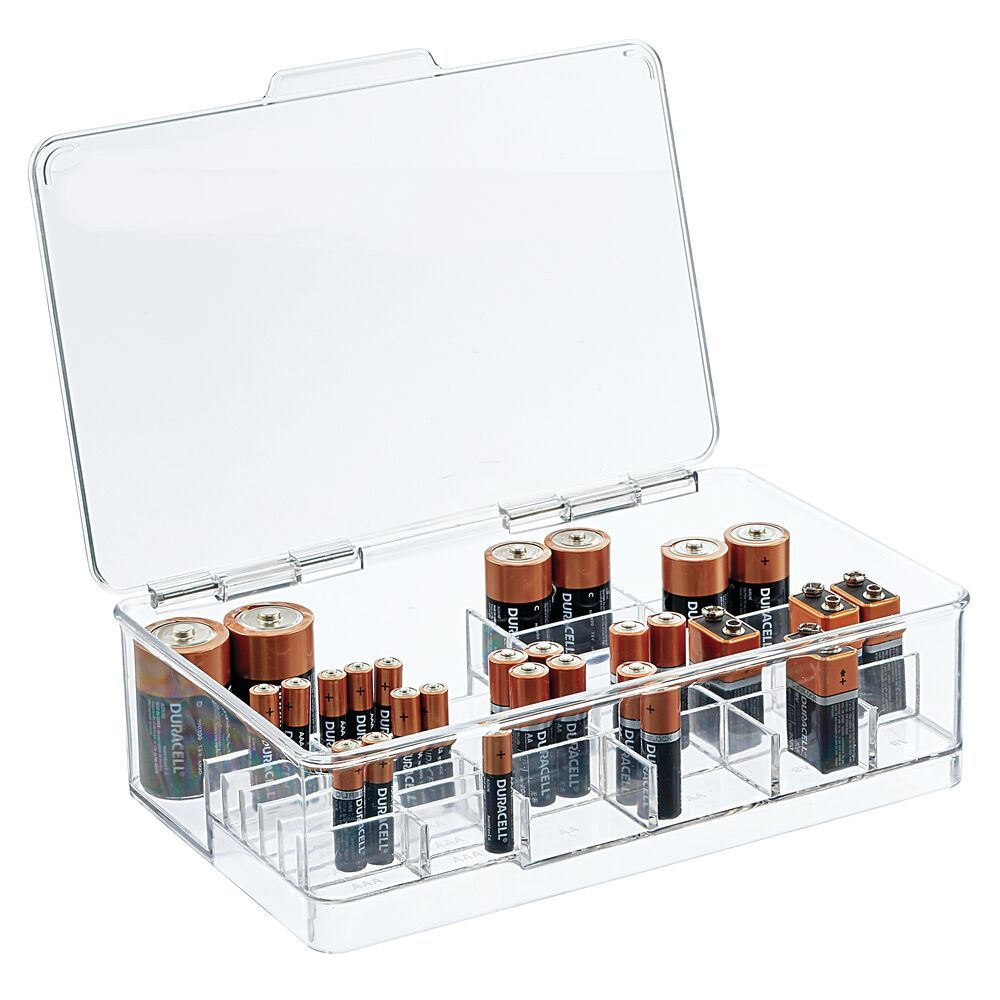 Small Stacking Divided Battery Storage Organizer Box with Lid, by mDesign