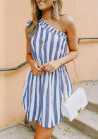 Striped Ruffled One02Shoulder Mini Dress without Necklace