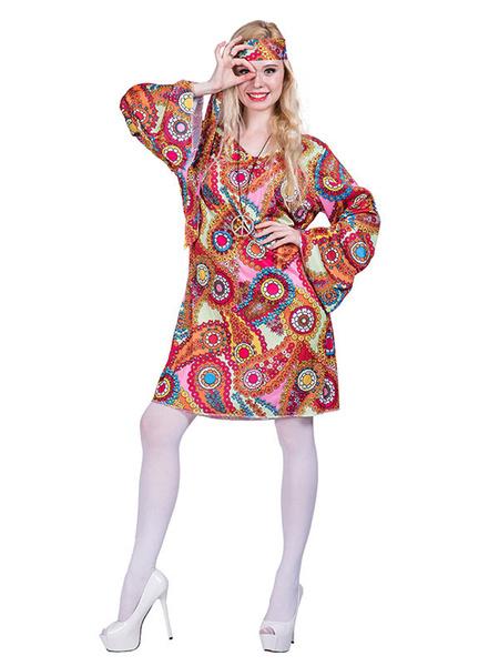 Milanoo 1960s Retro Costumes Women Shift Dress Hippies Halloween Costume