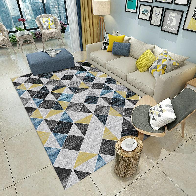 Modern Style Crystal Velvet Material Geometric Pattern Area Rug