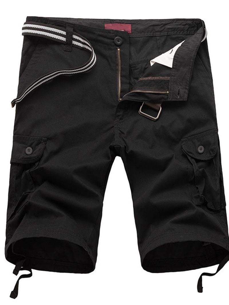 Ericdress Loose Pocket Plain Casual Mid Waist Shorts