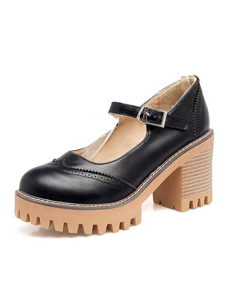 Milanoo Mary Jane Vintage Shoes Chunky Heel Round Toe 3.1 Women\\\'s Shoes