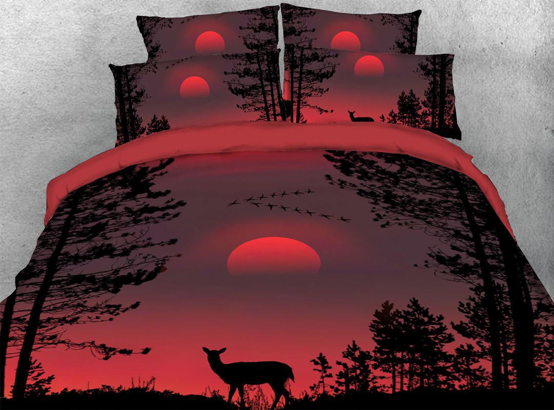 3D Deer 4-piece No-fading Soft Bedding Sets Durable Scenery Zipper Duvet Cover with Non-slip Ties