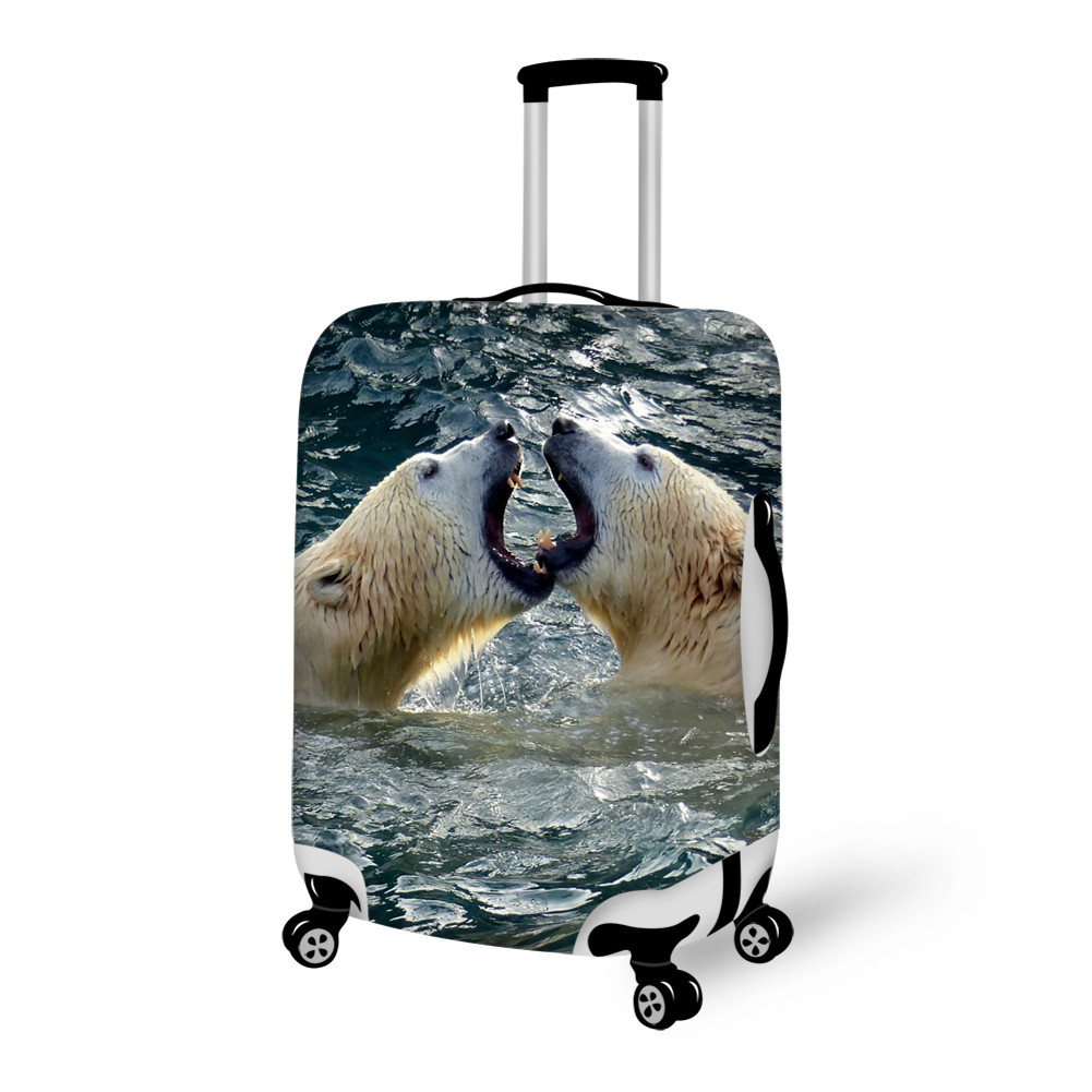 Lively Polar Bear in Water Pattern 3D Painted Luggage Cover
