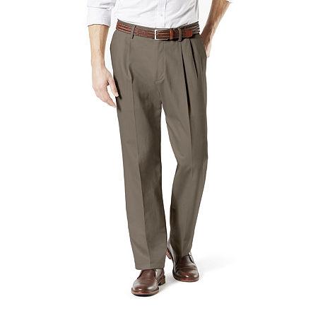 Dockers Men's Classic Fit Signature Khaki Lux Cotton Stretch Pants - Pleated D3, 34 36, Brown