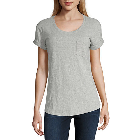a.n.a-Womens Round Neck Short Sleeve T-Shirt, Small , Gray