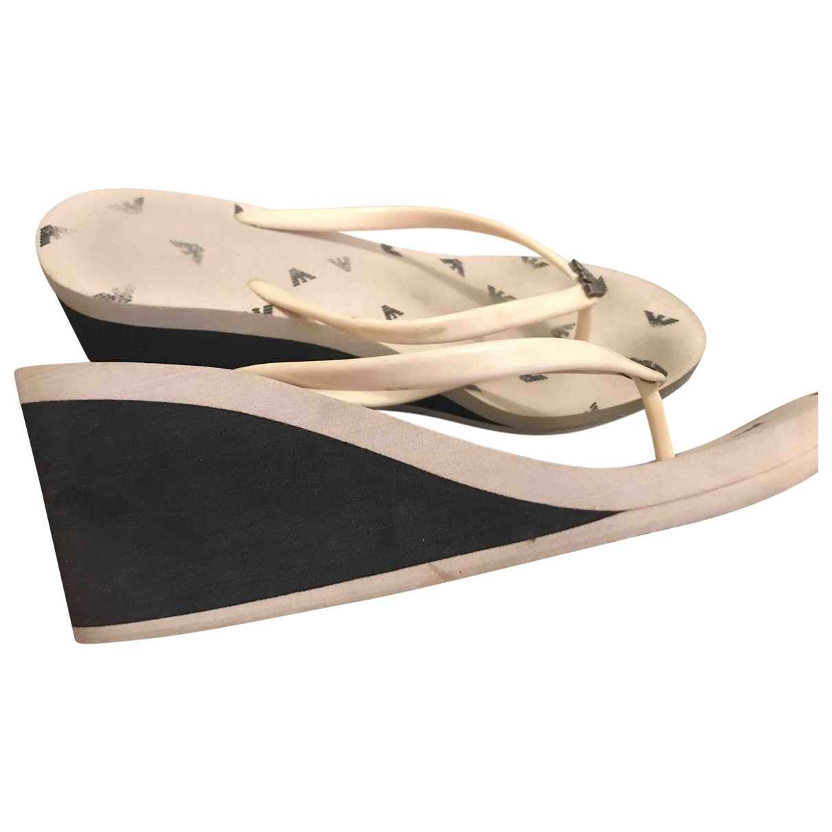 Giorgio Armani \N Black Rubber Sandals for Women 39.5 EU