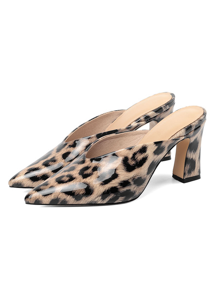 Milanoo Patent Pointed Toe Mules Chunky Heel Leopard Zebra Printed Slippers