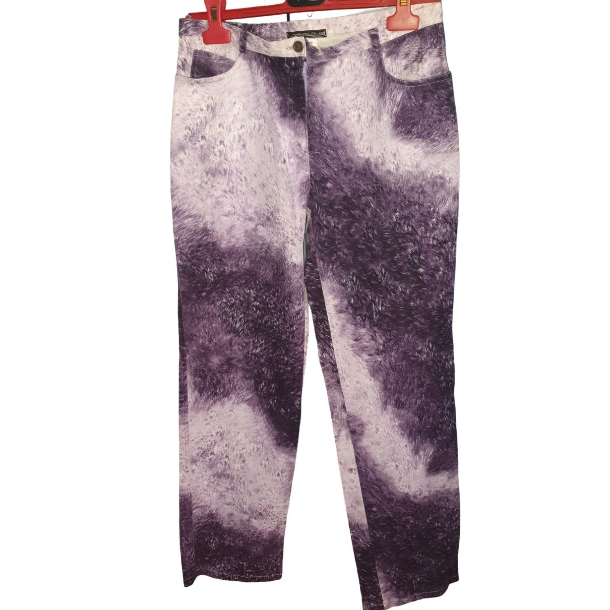 Non Signé / Unsigned \N Purple Cotton - elasthane Jeans for Women 32 FR