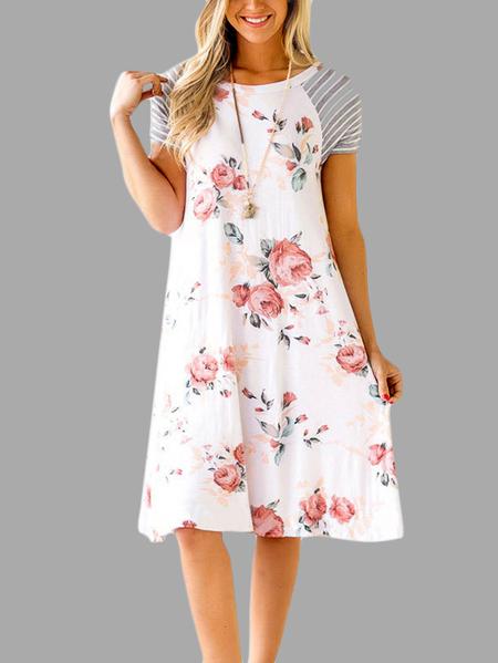 Yoins Random Floral Print Round Neck Stripe Stitching Dress in White
