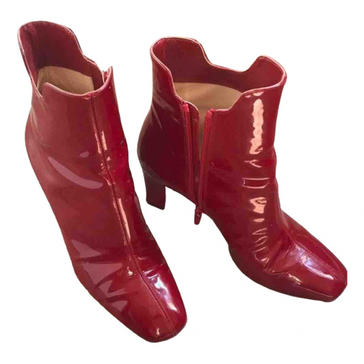 Christian Louboutin \N Red Patent leather Ankle boots for Women 36.5 EU