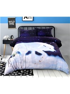 Vivilinen 3D White Wolf Walking in Snow Printed 4-Piece Bedding Sets/Duvet Covers