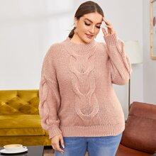 Plus Drop Shoulder Cable Knit Sweater