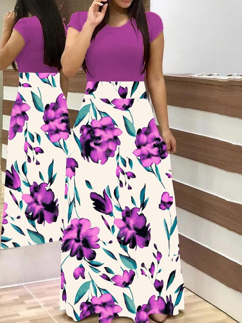 Ericdress Round Neck Print Floor-Length Mid Waist Color Block Dress