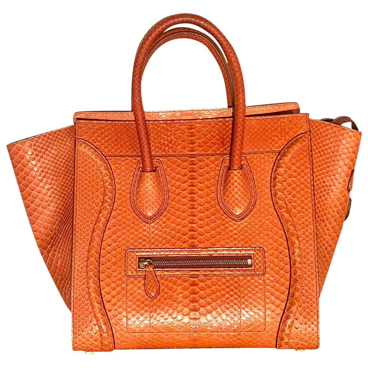 Celine Luggage Orange Python handbag for Women \N