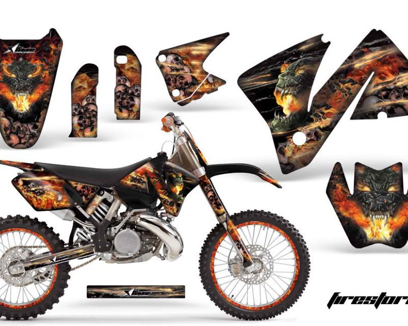 AMR Racing Graphics MX-NP-KTM-C3-01-02-FS K Kit Decal Wrap + # Plates For KTM EXC 200-520 MXC 200-300 2001-2002áFIRESTORM BLACK