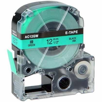 Epson LK-4GBP Compatible LK ruban d'étiquettes, 12mm(1/2''), noir sur vert