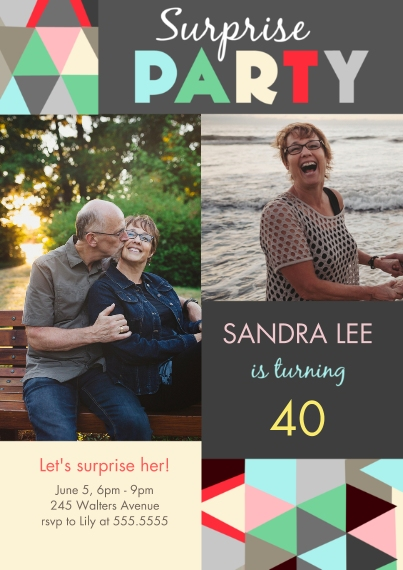 Birthday Party Invites Flat Glossy Photo Paper Cards with Envelopes, 5x7, Card & Stationery -Geometric Gathering