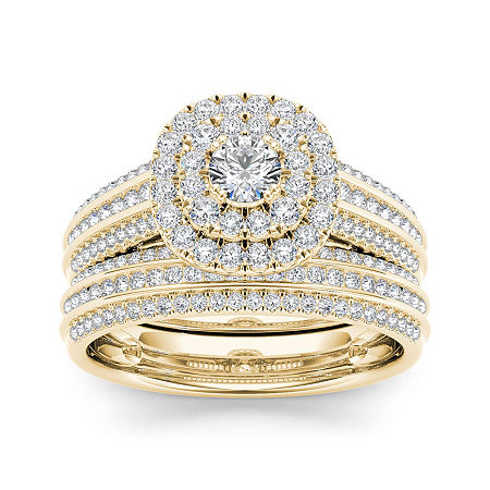 1 CT. T.W. Diamond 10K Yellow Gold Bridal Ring Set, 6 , No Color Family
