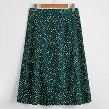 Plus Polka Dot Split Thigh Skirt