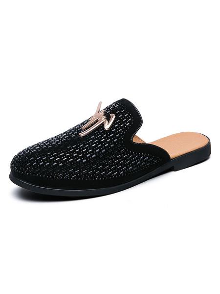 Milanoo Men\'s Sandals Slip-On Metal Details PU Leather Rubber Sole Men\'s Mules