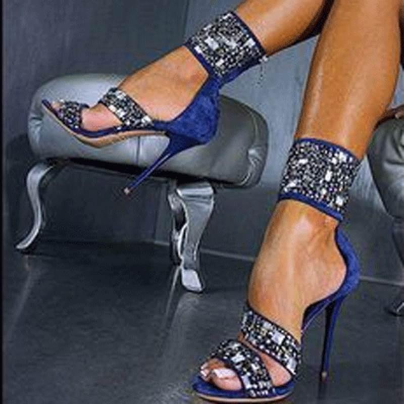 Ericdres Blue Shining Rhinestone Decoration Stiletto Sandals