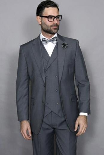 Men's Wool Solid Charcoal 3 Piece Italian Style Double Vest Suit