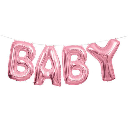 Pink Foil Balloon Letter Banner BABY 14